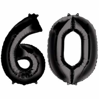 60 jaar leeftijd helium/folie ballonnen zwart feestversiering prijs