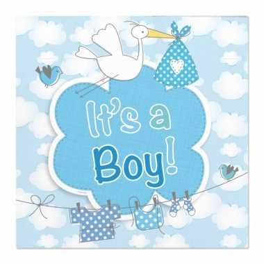 60x babyshower servetten blauw 25 x 25 cm geboortefeestje prijs