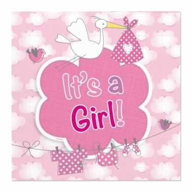 60x babyshower servetten roze 25 x 25 cm geboortefeestje prijs