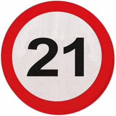 60x eenentwintig/21 jaar feest servetten verkeersbord 33 cm rond verj