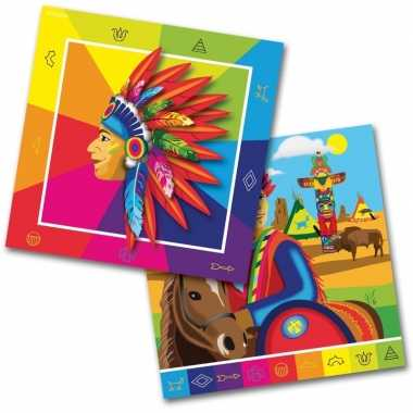 60x indianen feest servetten 33 x 33 cm kinderverjaardag prijs