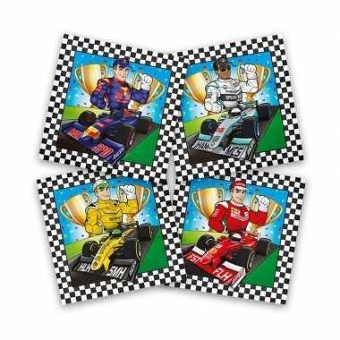 60x race/formule 1 feest servetten gekleurd 33 x 33 cm kinderverjaard