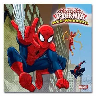 60x spiderman warrior feest servetten 33 x 33 cm kinderverjaardag pri