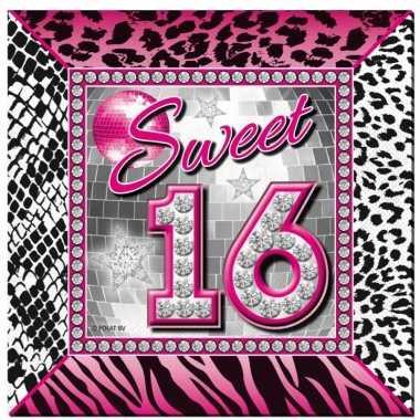 60x sweet 16 servetten 25 x 25 cm geboortefeestje prijs
