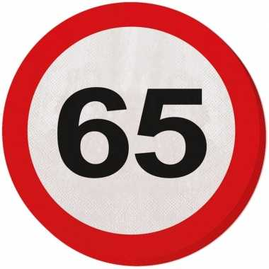60x vijfenzestig/65 jaar feest servetten verkeersbord 33 cm rond verj