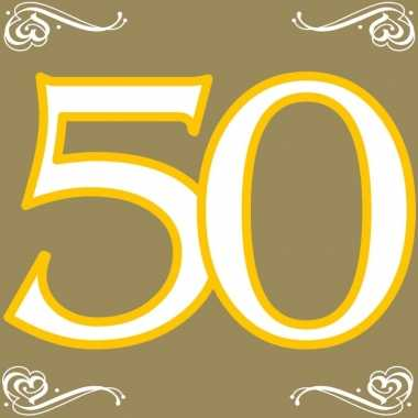 60x vijftig/50 jaar feest servetten 33 x 33 cm verjaardag/jubileum pr