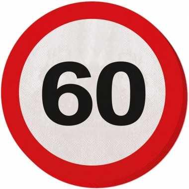 60x zestig/60 jaar feest servetten verkeersbord 33 cm rond verjaardag
