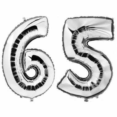 65 jaar leeftijd helium/folie ballonnen zilver feestversiering prijs