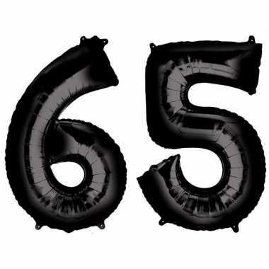 65 jaar leeftijd helium/folie ballonnen zwart feestversiering prijs
