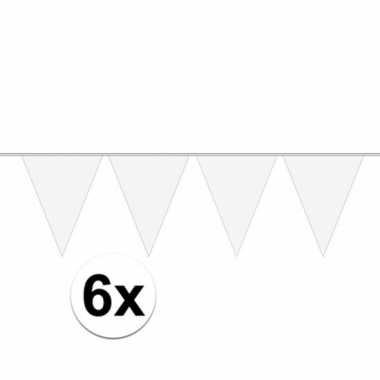 6x carnaval vlaggenlijn wit 10 meter prijs