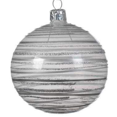 6x champagne kerstballen transparant 8 cm prijs