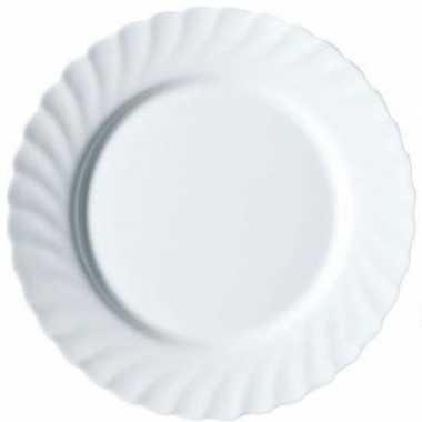6x dessertbordjes wit glas 15 cm prijs