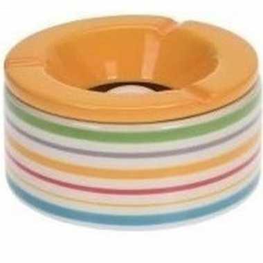 6x gekleurde asbakken met gele deksel voor binnen en buiten 12 cm pri