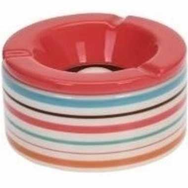 6x gekleurde asbakken met roze deksel voor binnen en buiten 12 cm pri