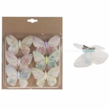 6x kerstversieringen vlinders op clip gekleurd 10 cm prijs