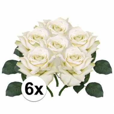 6x kunstbloemen witte roos 31 cm prijs
