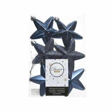 6x kunststof sterren kerstballen glans/mat/glitter donkerblauw 7 cm k
