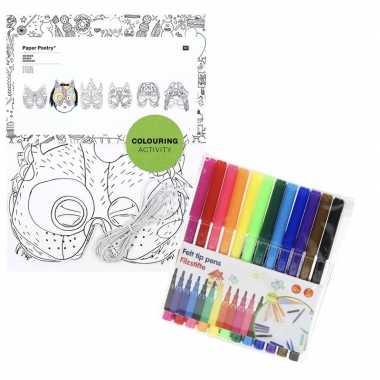 6x maskers om in te kleuren met stiften voor kinderen prijs
