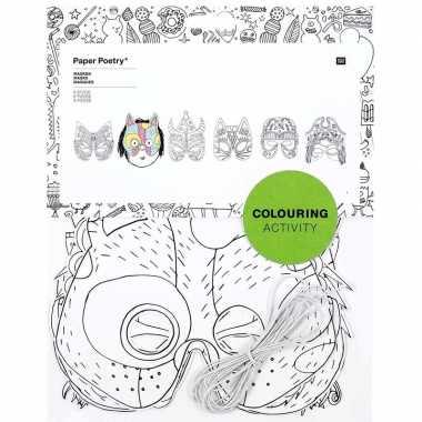 6x maskers om in te kleuren voor kinderen prijs