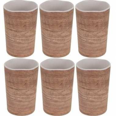 6x onbreekbare drinkbeker/mok houtprint 11 cm prijs