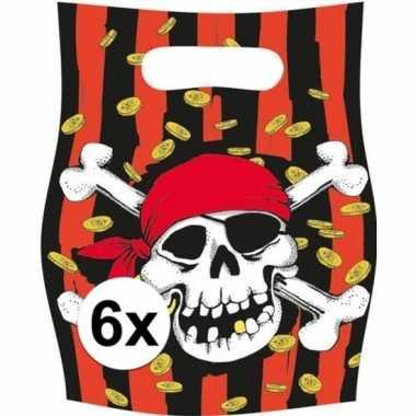 6x piratenfeest verjaardags snoepzakjes prijs