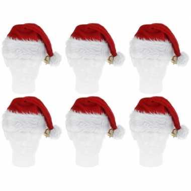 6x pluche kerstmutsen met bel deluxe prijs