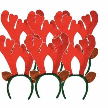 6x rendier diadeem met rood gewei prijs