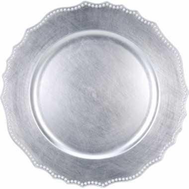 6x ronde zilveren onderborden 33 cm voor een diner prijs