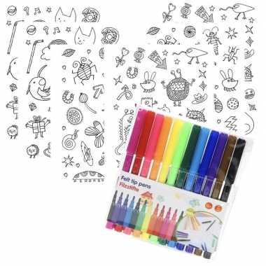6x sticker vellen om in te kleuren met 12 stiften voor kinderen prijs