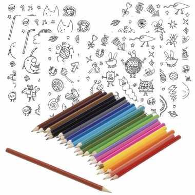 6x sticker vellen om in te kleuren met 24 potloden voor kinderen prij