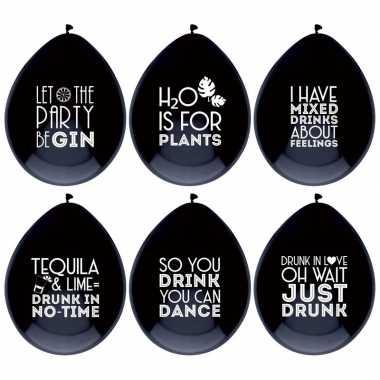 6x zwarte ballonnen met alcohol spreuken feestdecoratie prijs