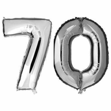 70 jaar leeftijd helium/folie ballonnen zilver feestversiering prijs