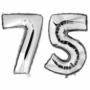 75 jaar leeftijd helium/folie ballonnen zilver feestversiering prijs