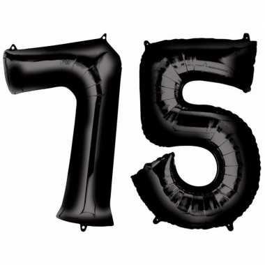 75 jaar leeftijd helium/folie ballonnen zwart feestversiering prijs