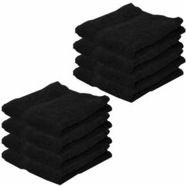 8x badkamer/douche handdoeken zwart 50 x 100 cm prijs