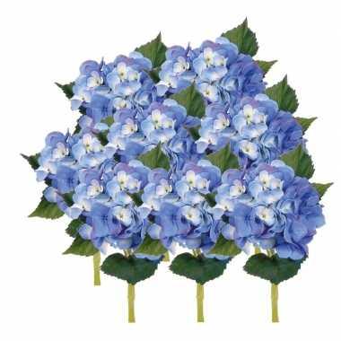 8x blauwe hortensia kunstbloemen met steel 48 cm prijs