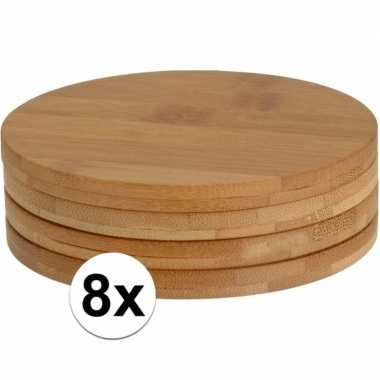 8x glazenonderzetters rond bamboe 10 cm prijs