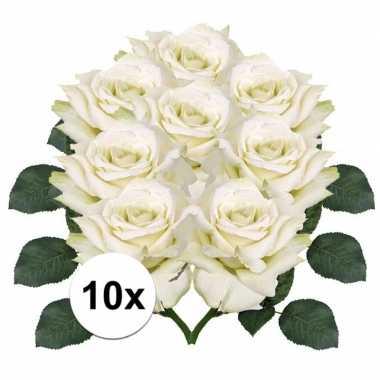 8x kunstbloemen witte roos 31 cm prijs