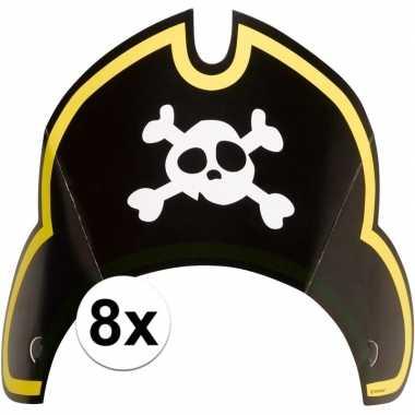 8x piratenfeest verjaardags kartonnen feesthoedjes prijs