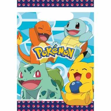 8x pokemon eetuitdeelzakjes/snoepzakjes blauw 16 x 23 cm kinderverjaa