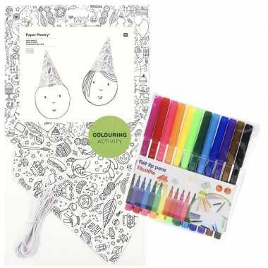 8x punt hoedjes om in te kleuren met stiften voor kinderen prijs