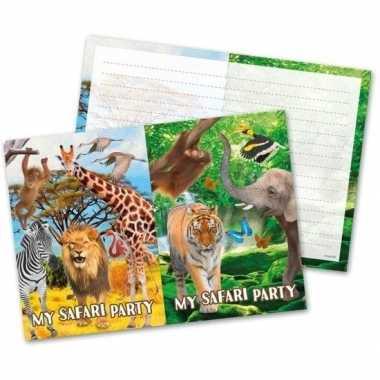 8x safari/jungle feest thema uitnodigingen 27 cm prijs