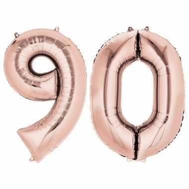 90 jaar leeftijd helium/folie ballonnen rose goud feestversiering pri