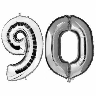 90 jaar leeftijd helium/folie ballonnen zilver feestversiering prijs