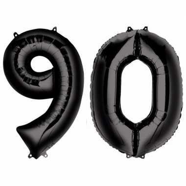 90 jaar leeftijd helium/folie ballonnen zwart feestversiering prijs