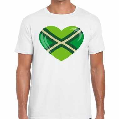 Achterhoek t-shirt met hart bedrukking wit voor heren prijs