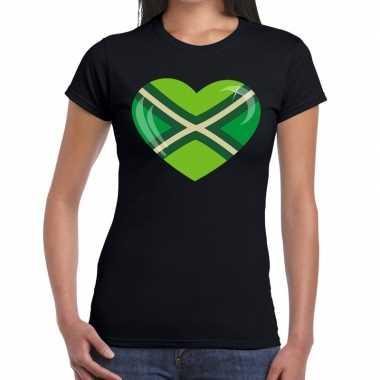 Achterhoeks t-shirt met hart bedrukking zwart voor dames prijs