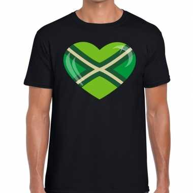 Achterhoeks t-shirt met hart bedrukking zwart voor heren prijs