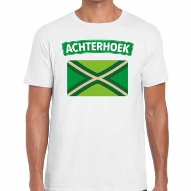 Achterhoeks t-shirt met vlag bedrukking wit voor heren prijs