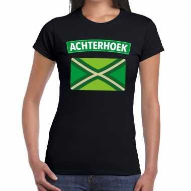 Achterhoeks t-shirt met vlag bedrukking zwart voor dames prijs